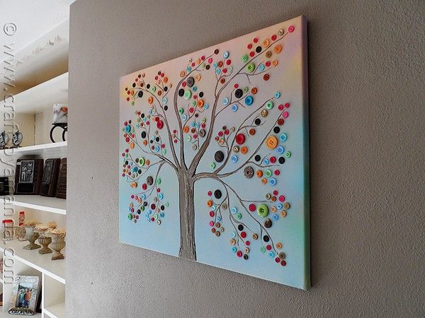 arbre avec des boutons arts pla recup boutons bricolage et tableau