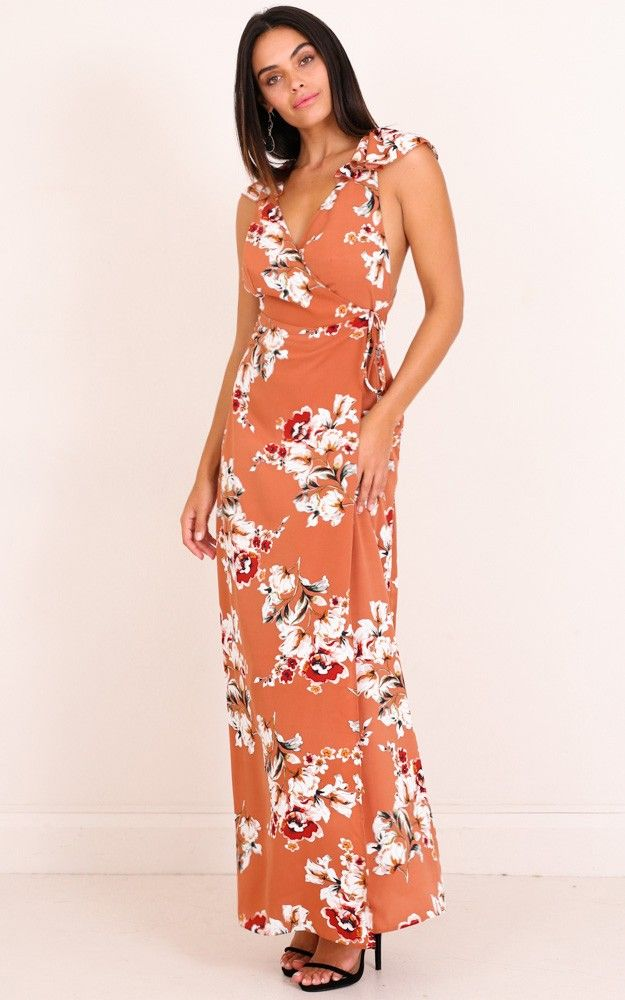 61ab20cd113 One Last Night Maxi Dress In Rust Floral Produced