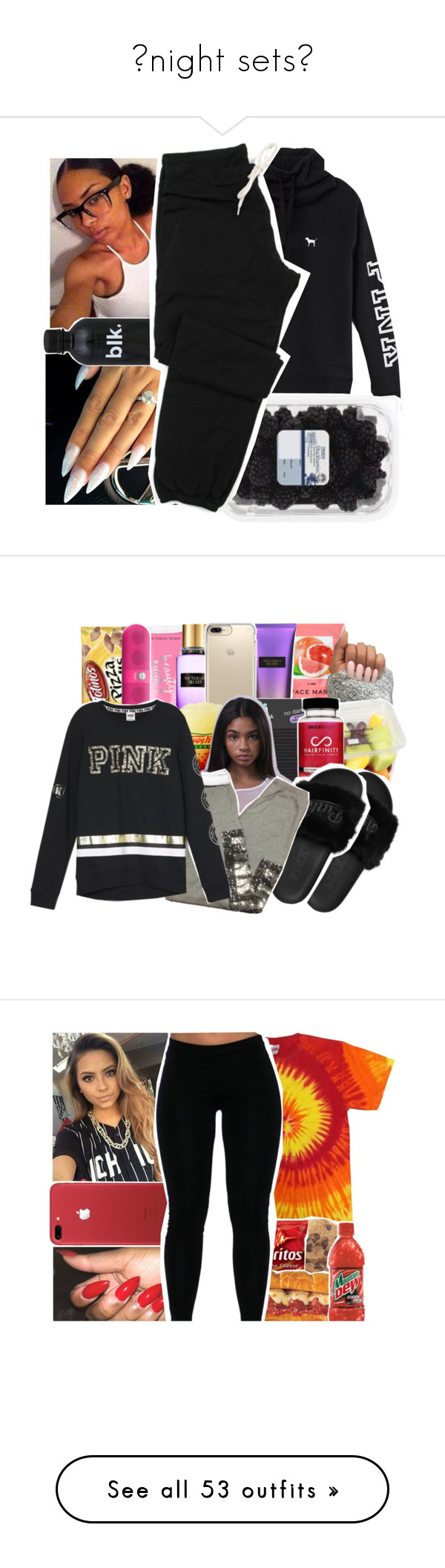 """""""night sets"""" by savagebxtch24 ❤ liked on Polyvore featuring Victoria's Secret, H&M, Speck, Conair, Beats by Dr. Dre, UGG Australia, NIKE, Gildan, Kale and Donna Karan"""