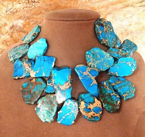 "Jaw-dropping, Large, double-strand Imported Congolese Turquoise.   It does not get better than this!    Beautiful color and veins   A solid Turquoise staple and corner piece for any jewelry collection.   Adjustable  17"" Long"