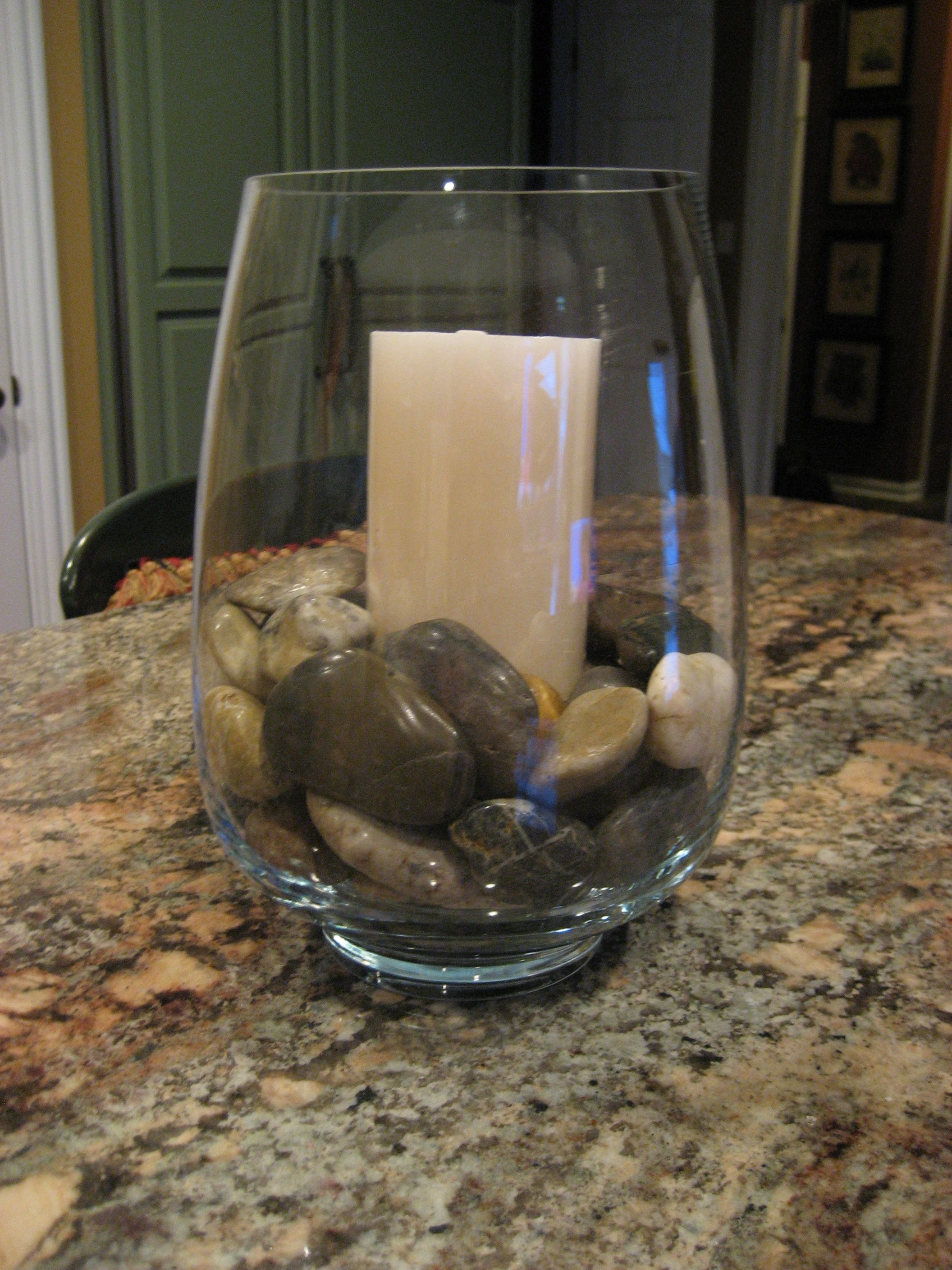 Glass vases with navywhite striped ribbon and black river rocks glass vases with navywhite striped ribbon and black river rocks around white pillar candles reviewsmspy