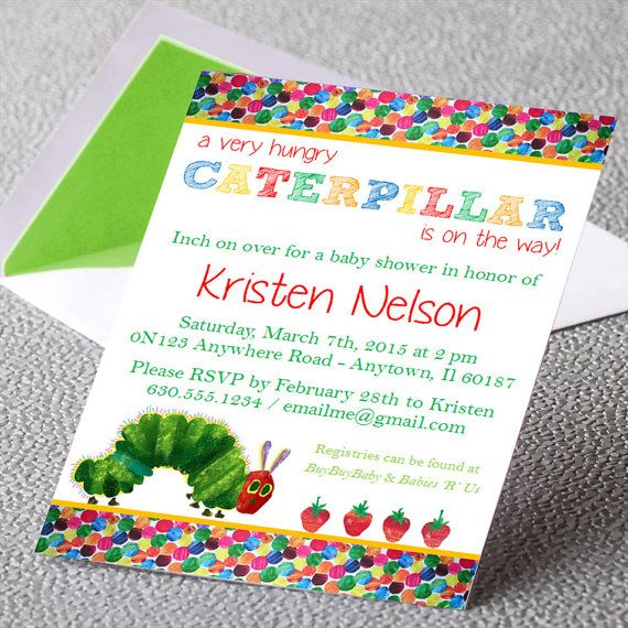 Eric Carle Very Hungry Caterpillar Baby Shower Invitation – Eric Carle Birthday Invitations