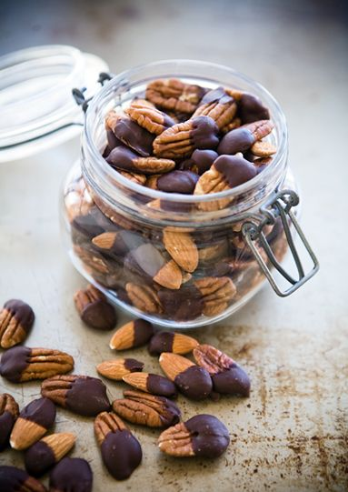 Chocolate Dipped Nuts. Use 60%+ Cacao for maximum health benefits.