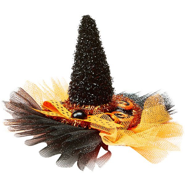 Carole Orange Tonal & Black Witch Hat Clip ($7.99) ❤ liked on Polyvore featuring home, home decor, holiday decorations, halloween home decor, orange home accessories, black home decor and orange home decor