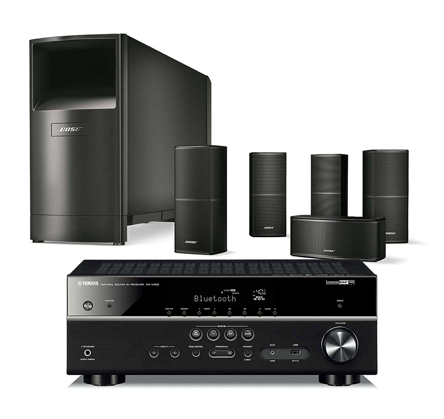 Bose Acoustimass 10 Series V Wired Home Theater Speaker System Black With Yamaha Rx V483 Home Theater Speaker System Home Theater Speakers Bluetooth Receiver