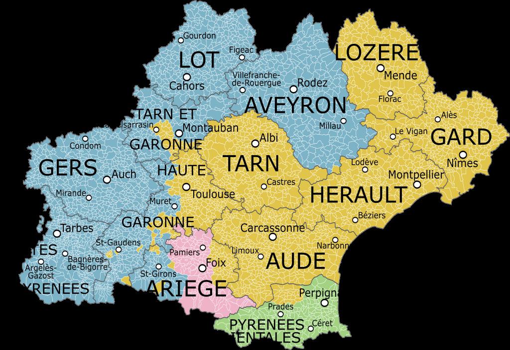 Cartina Francia Tolosa.Occitania Mappa Pirenei Mappa Mappe