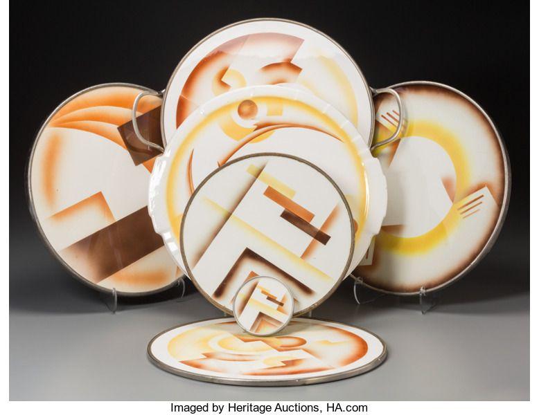 Ceramics Porcelain Continental Modern 1900 1949 Seven Spritzdekor Art Deco Ceramic Table Items Circa 1930 Mar Ceramic Table Ceramics German Ceramics