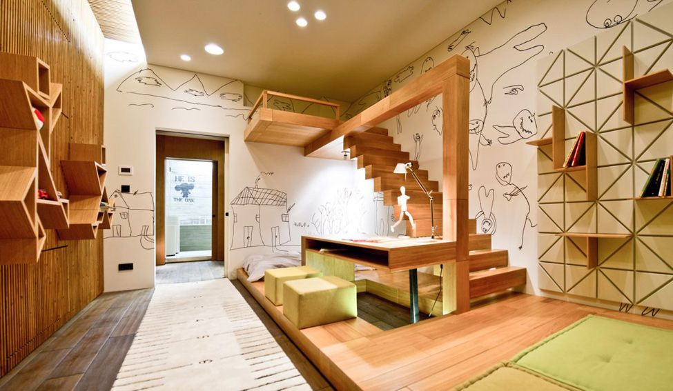 wood-stairs-and-green-ottoman-furniture-in-childrens-room-art