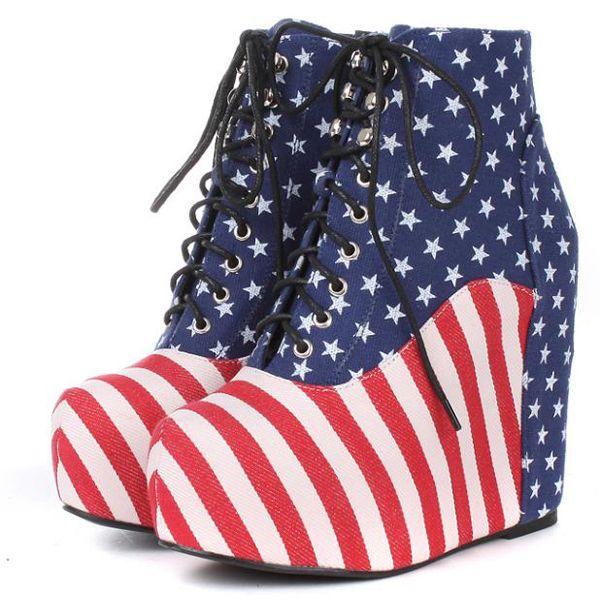 Canvas Upper America Flag Printed Wedge Booties @ MayKool.com