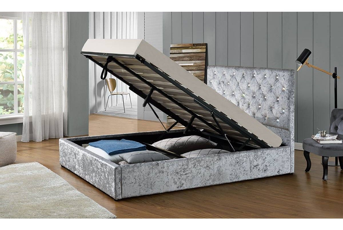 Chatsworth Silver Crushed Velvet Ottoman Storage Bed Frame- Double ...