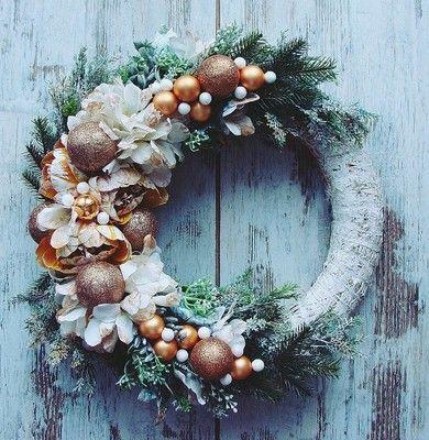 Stroik Na Kole Zloty Rudy Boze Narodzenie 45cm 6629766100 Oficjalne Archiwum Allegro Floral Wreath Christmas Wreaths Holiday Decor