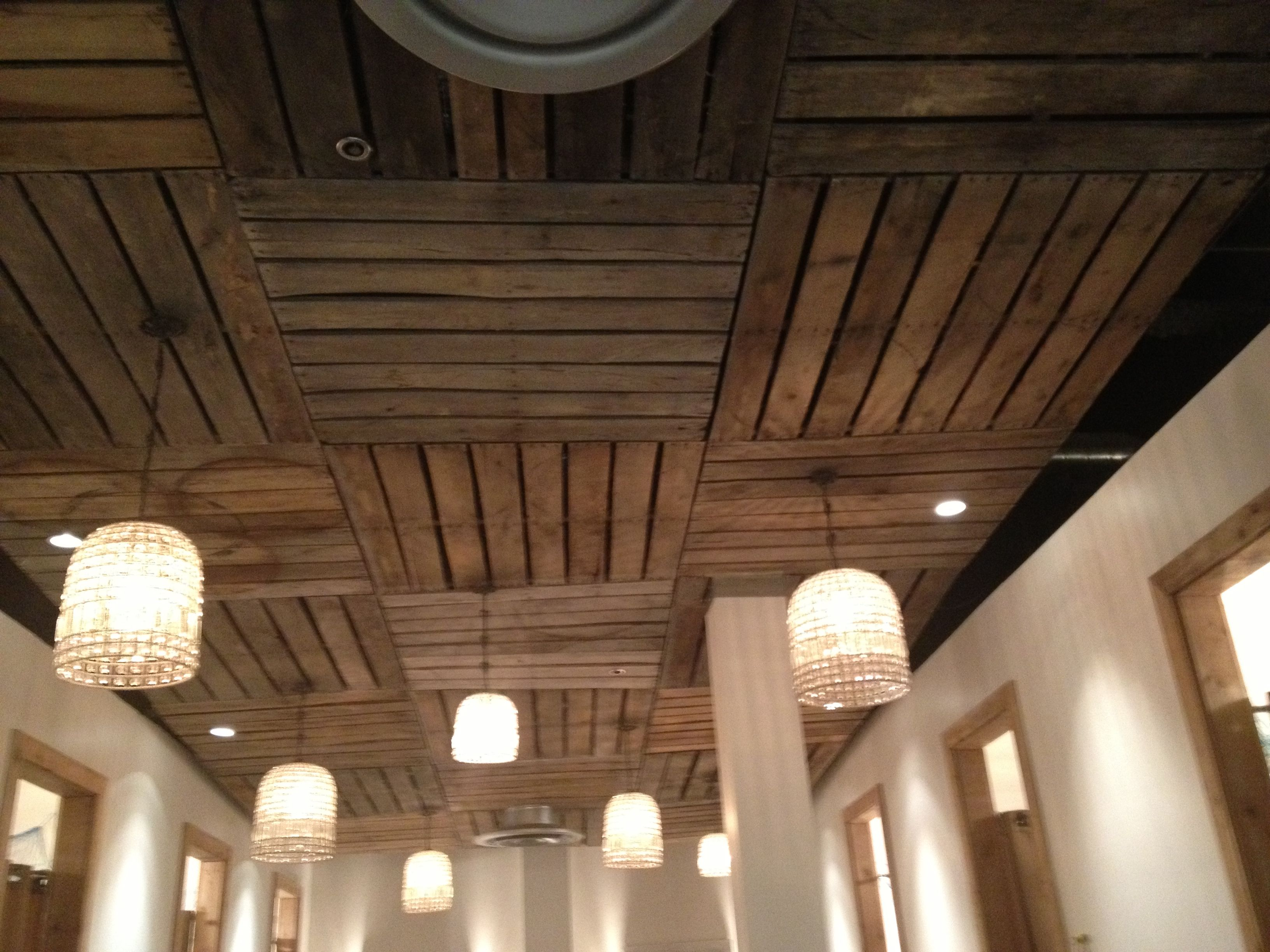 Pallet Ceiling Love This Idea For Basement And Also Pallets For The Cornice Above The Low Ceiling Basement Basement Ceiling Insulation Drop Ceiling Basement