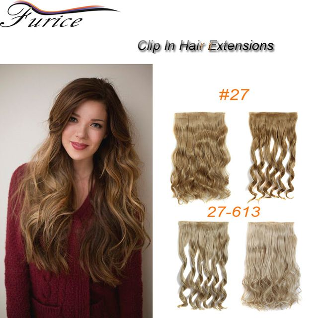 5 Clip In Synthetic Hair Extensions Curly Wavy European Lady Wig