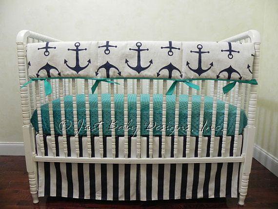Custom Bumperless Baby Crib Bedding Set Dane Nautical Baby Bedding, Boy Baby  Bedding,
