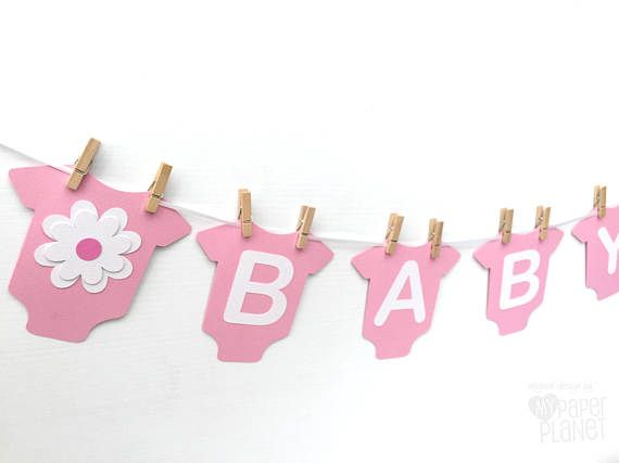 pink baby banner with flowers baby bodysuit romper shape baby