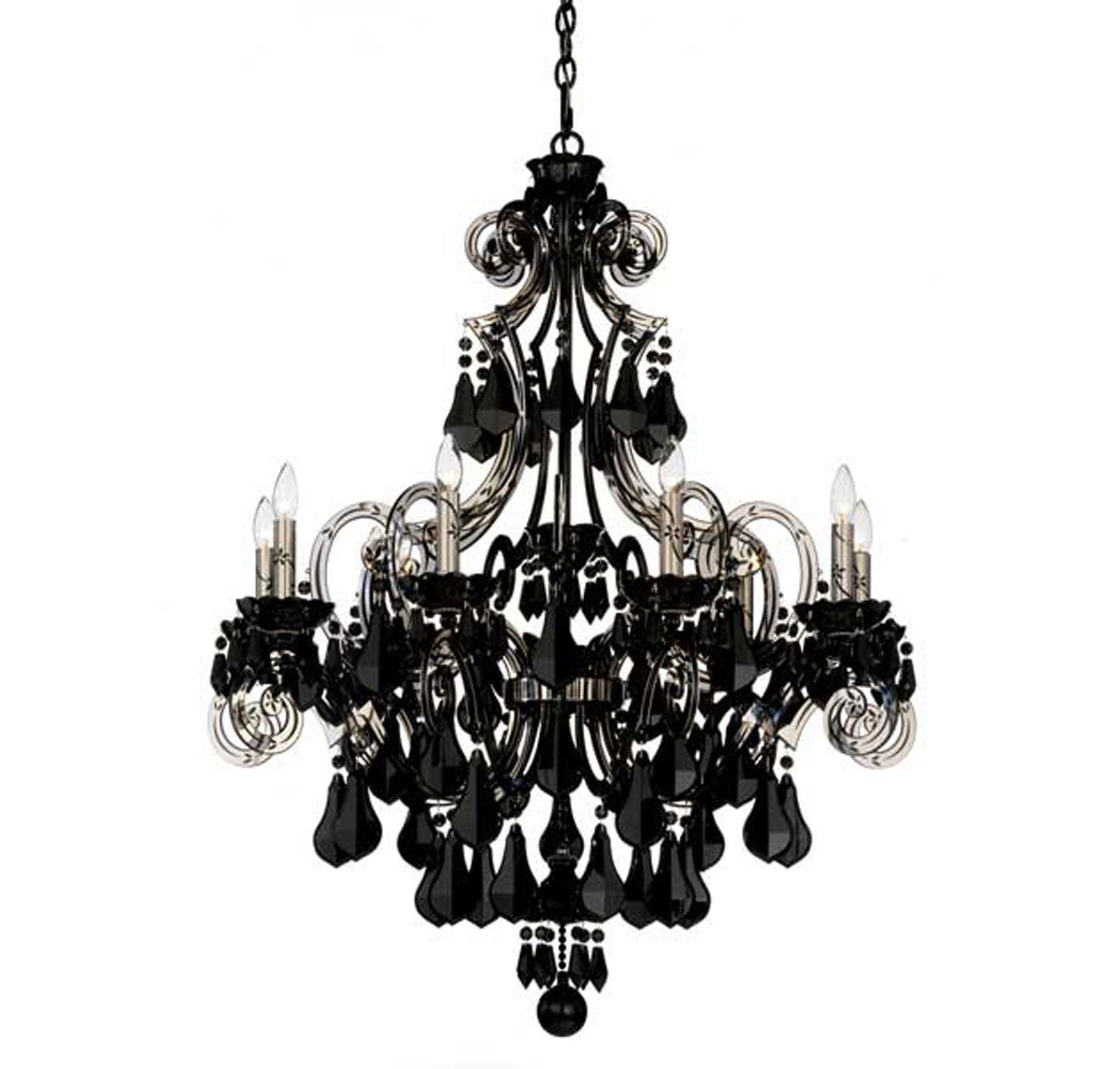 Black Crystal Chandelier Schonbek Cappela 9 Light Black Chandelier In Chandeliers Black Chandelier Black Crystal Chandelier Chandelier Design