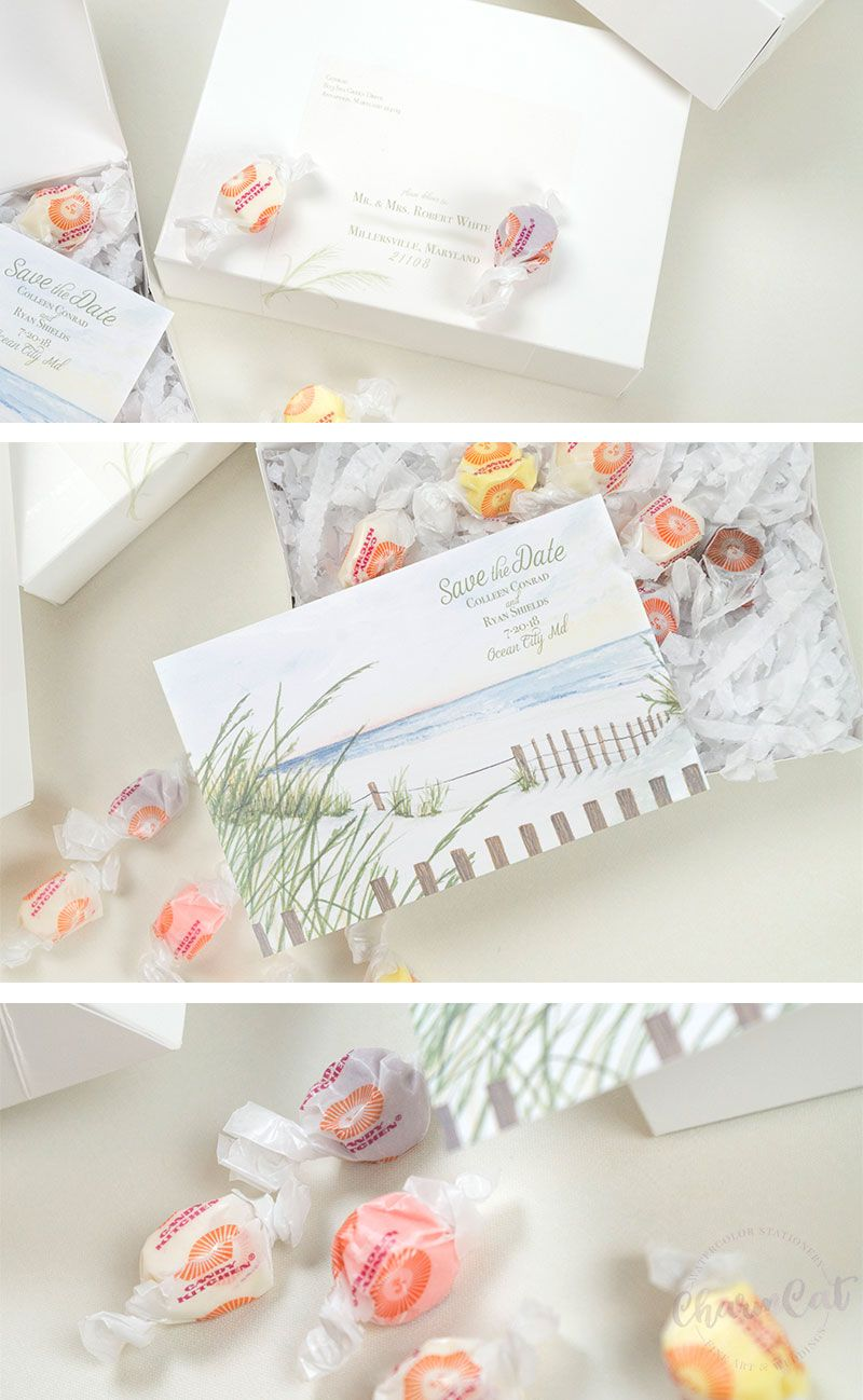 Tranquil Beach Save the Dates with Real Salt Water Taffy | Salt ...