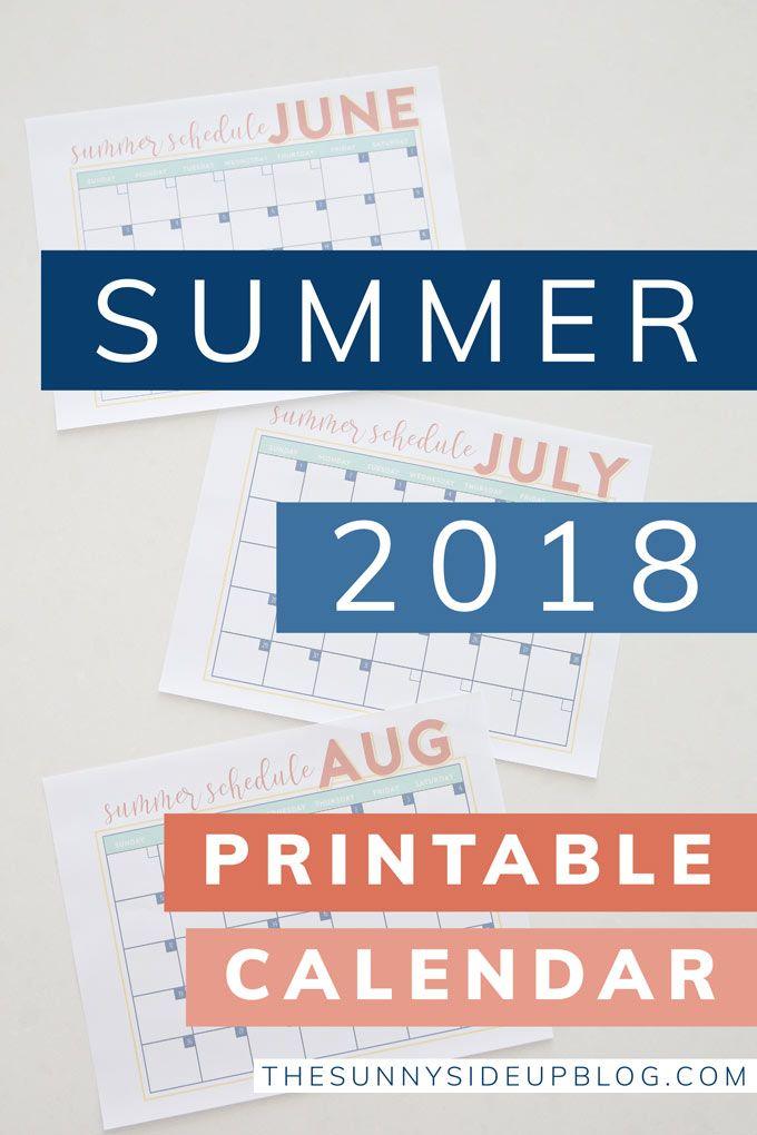 2018 summer calendar free printable sunny side up