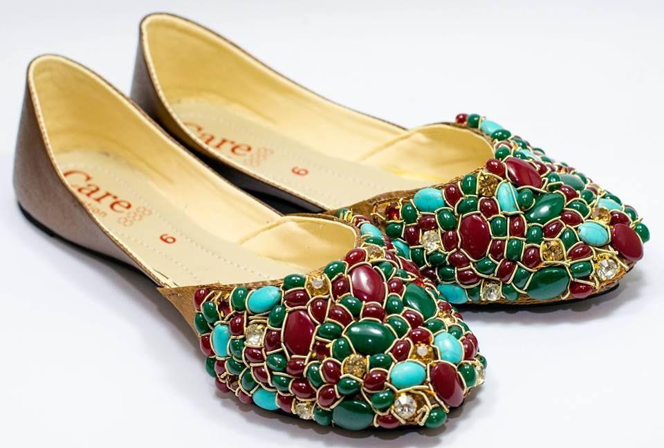 IK-001 Kundun Khussa Hand stiched, leather, semi precious ...