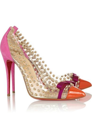 Get the must-have pumps of this season! These Christian Louboutin New Bille  Et Boule 100 Studded Pvc Suede 37 7 Hot Pink, Orange, Gold Pumps are a top  10 ...