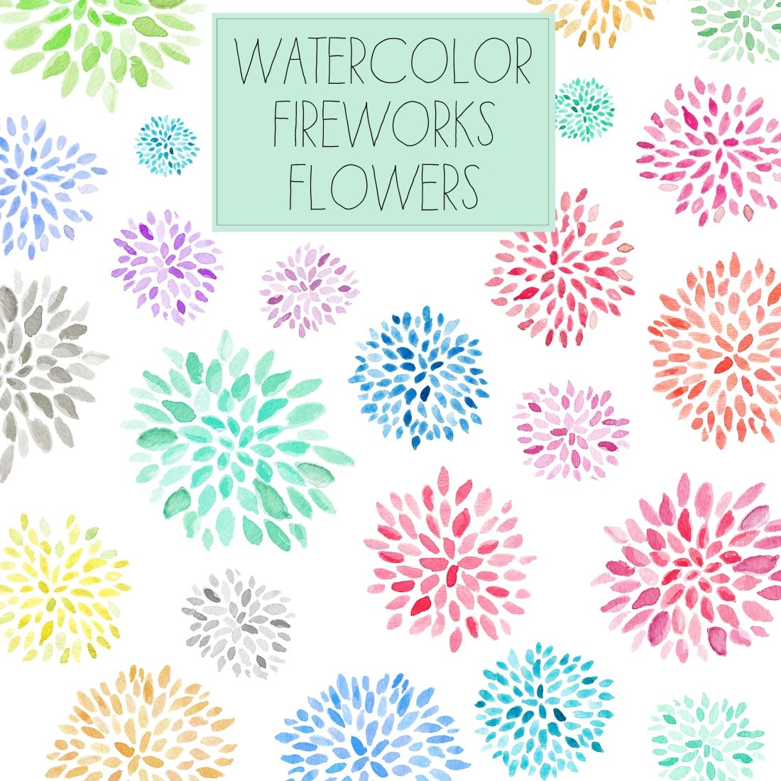 Watercolor Clip Art – Fireworks Flowers | Watercolors, Vintage and ...
