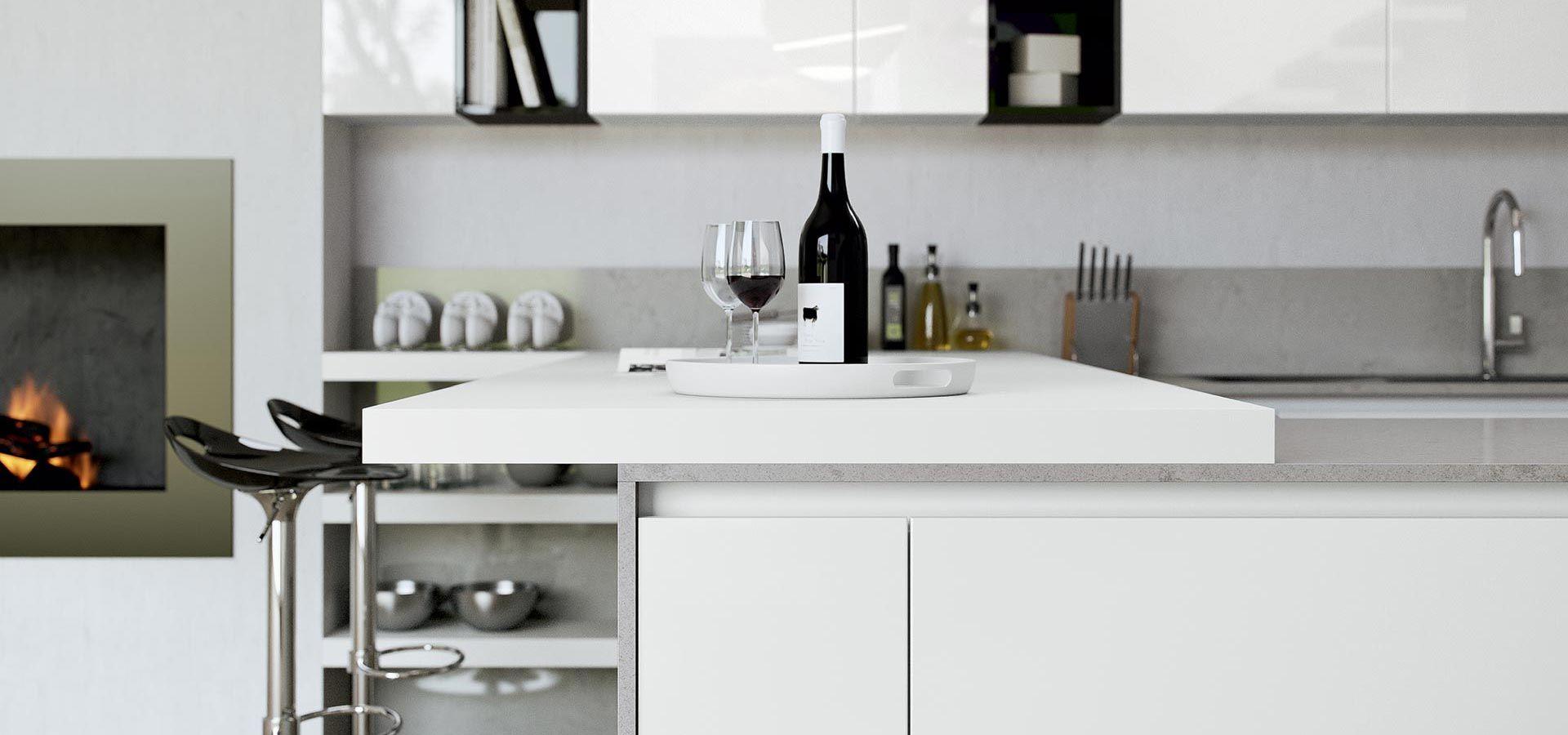Cucina Moderna - Round Finitura bianco | Vani a giorno nero | Piano ...