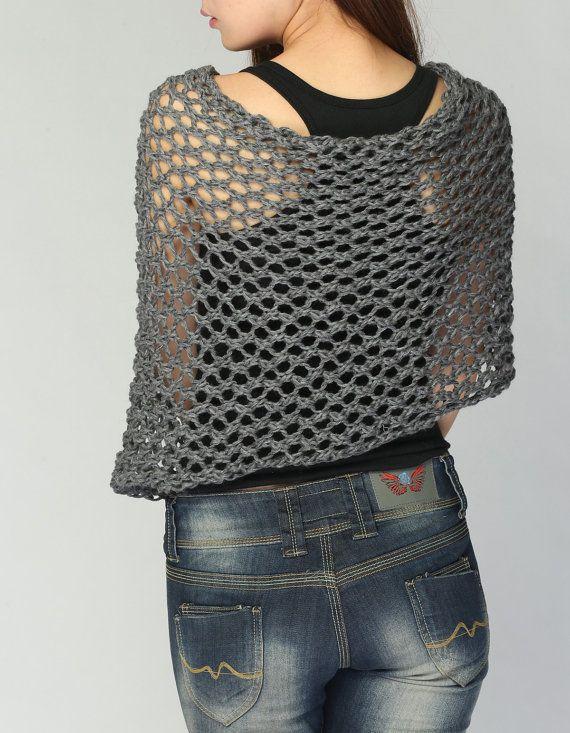 Esto suelta tejido hermoso poncho está hecho de 100% algodón eco en ...