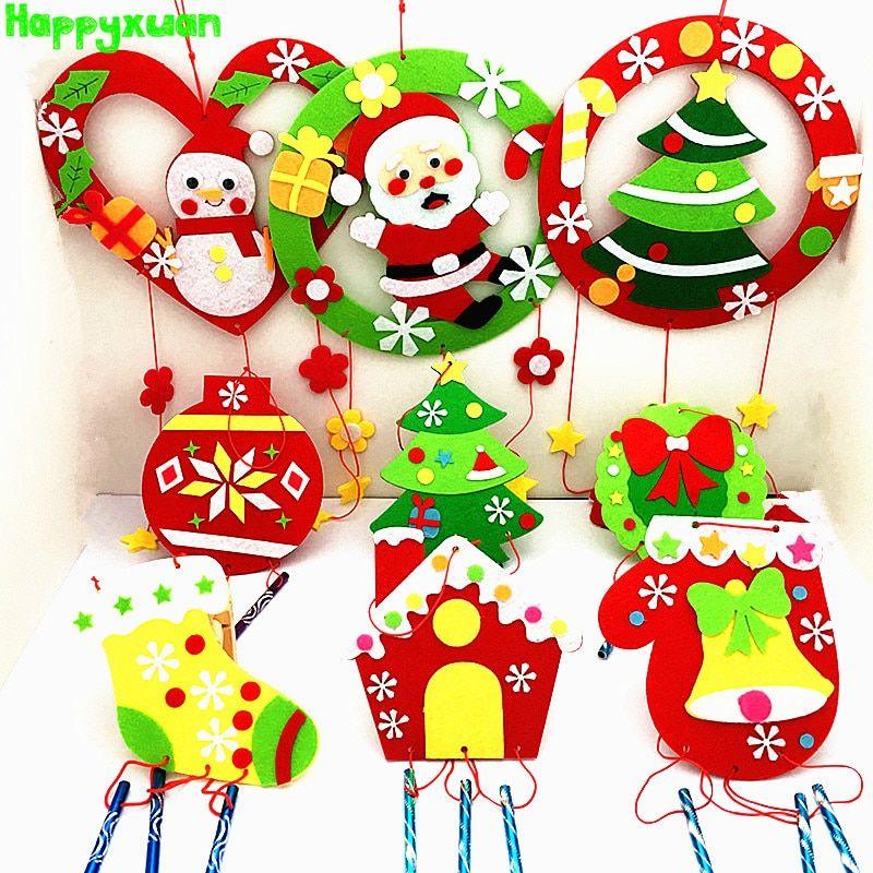 9pcs set children diy crafts kits felt christmas toy wind