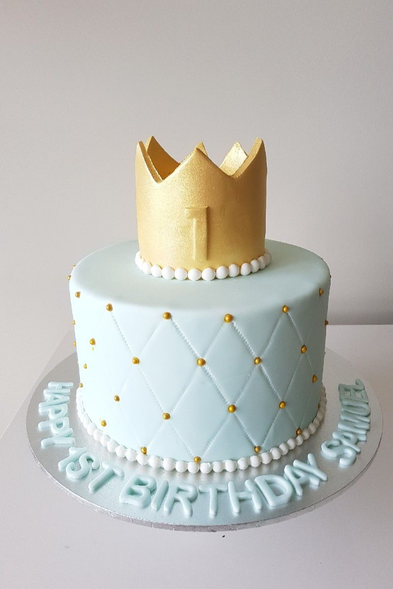 Brilliant Birthday Cake Fit For A 1 Year Old Prince With Images Baby Funny Birthday Cards Online Inifodamsfinfo