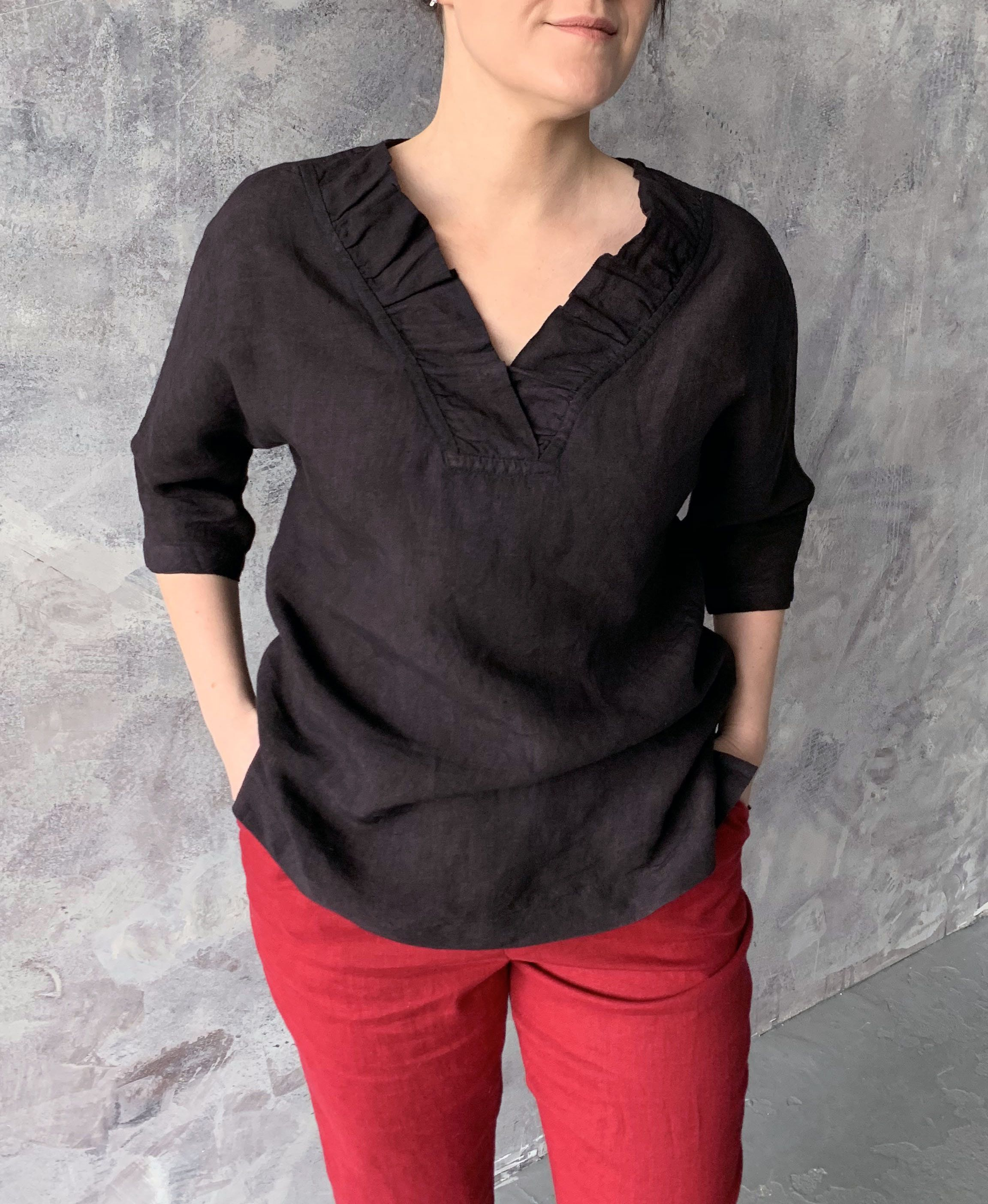 Knitted black linen blouse XXL size.