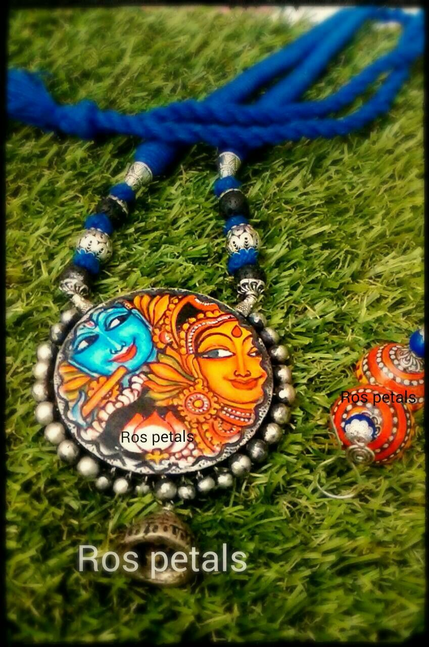 Kerala mural radha krishna terracotta from ros petals my for Mural jewellery