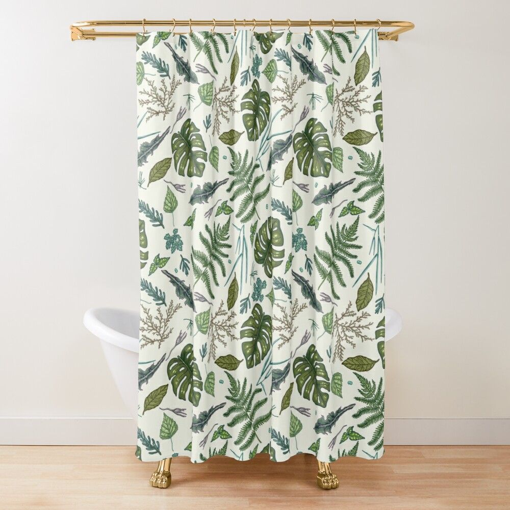 Green Leaves Pattern Shower Curtain By Smalldrawing In 2020 Leaf Pattern Patterned Shower Curtain Curtains