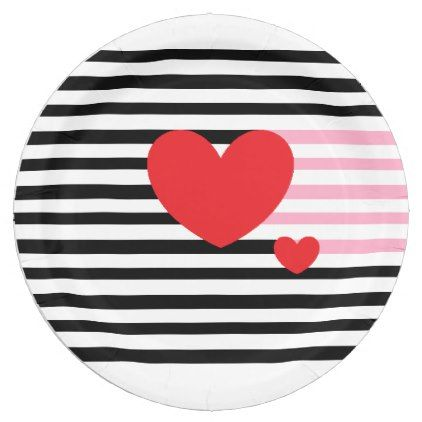 Red Hearts in Black and White Stripes Paper Plate - red gifts color style cyo diy  sc 1 st  Pinterest & Red Hearts in Black and White Stripes Paper Plate