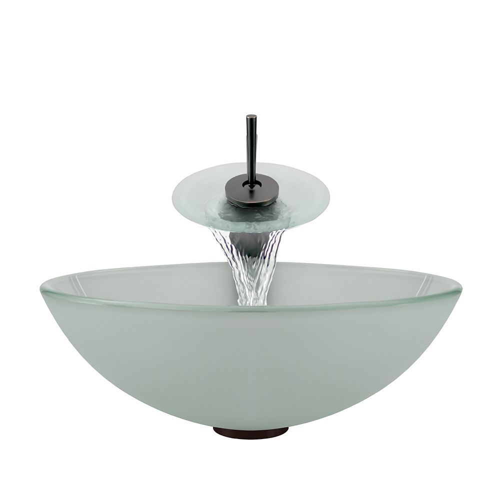Polaris Sinks Oil-rubbed Bronze Frosted Sink and Waterfall Faucet