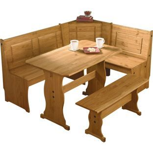 Puerto Rico 3 Corner Bench Nook Pine Table And Bench Set From
