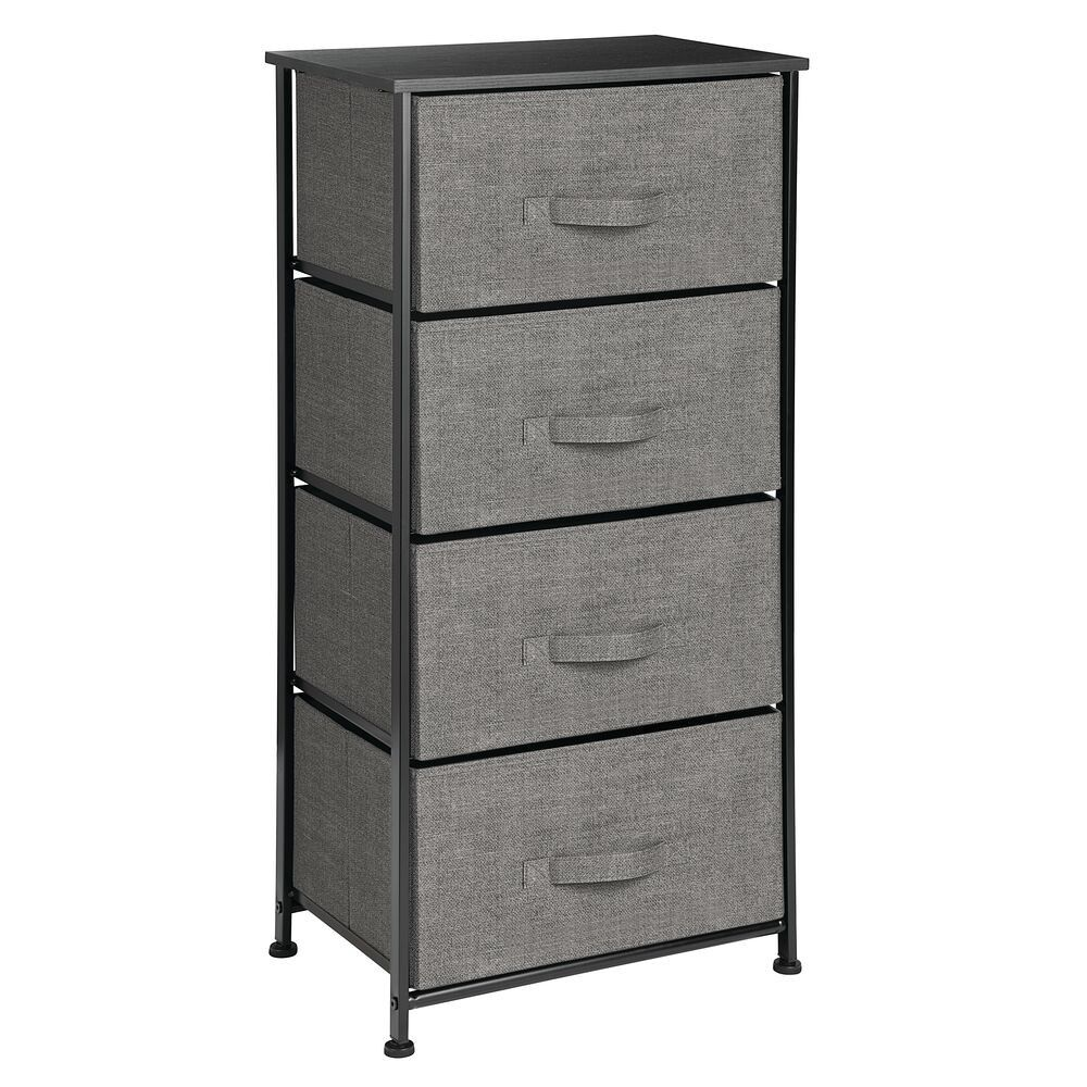 Mdesign Vertical Dresser Storage Tower With 4 Drawers Charcoal Gray Black In 2020 Dresser Storage Table Storage Fabric Storage