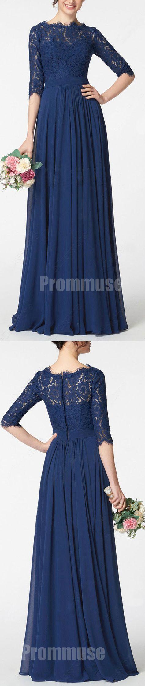 Half sleeves navy blue lace chiffon formal cheap long bridesmaid