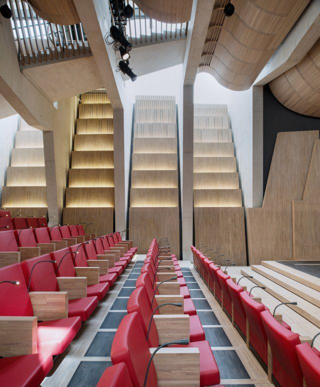 Lateral view and lines from the auditorium at La Maison de l´Ecriture - Switzerland