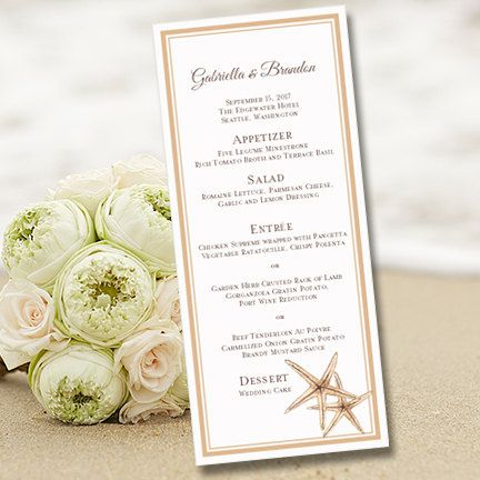 Printable Wedding Menu Template Beach Starfish by WeddingTemplates - microsoft menu template