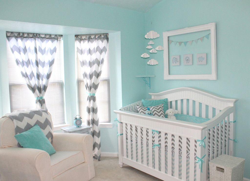 Wall Color Is Behr Glacier Bay And Refreshing Pool Grey Chevron Nursery Baby Bedding