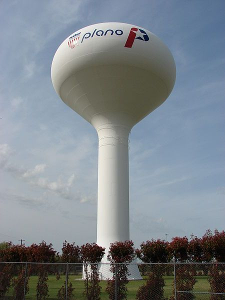 File Watertower Plano 7600 Jpg Wikipedia The Free Encyclopedia Water Tower Texas Water Plano