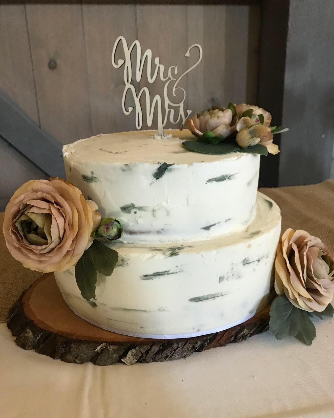 Buttercream Birch Tree Wedding Cake Mrsstaceycakes Birch Tree