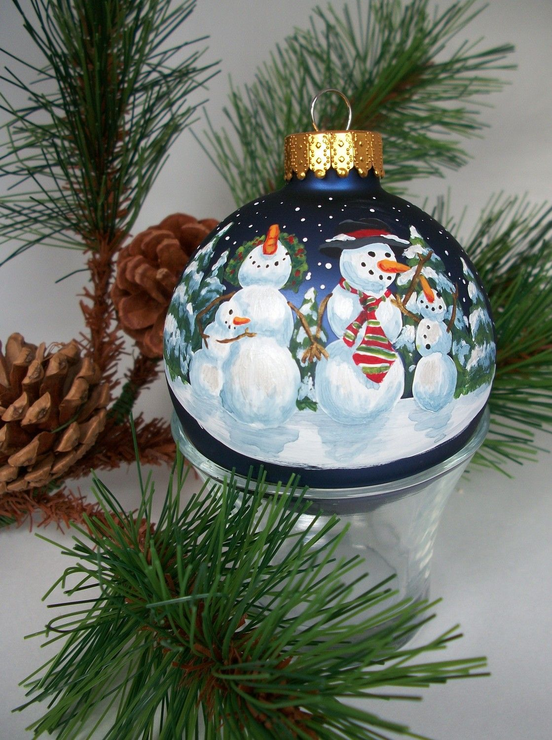 Snow Family Hand Painted Glass Holiday Ornament Etsy