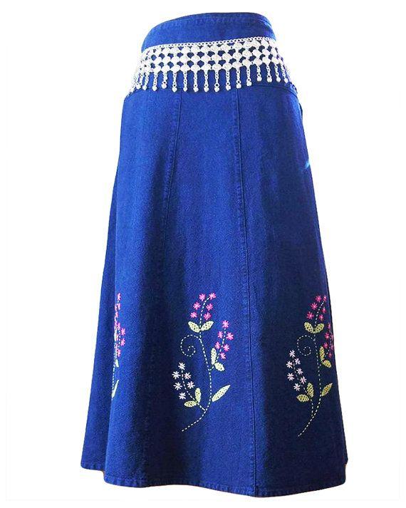 Denim Maxi Skirt  Thai Cotton Skirt  Denim Wrap by ThaiOnline #denimwrapskirt #denimsarong