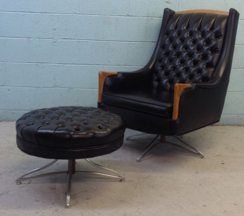 Kroehler Bedroom Furniture Mid Century Modern Tufted Vinyl Rotating Lounge Chair And Ottoman