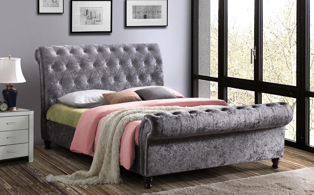 Castello Silver Crushed Velvet Super King Size Bed ...