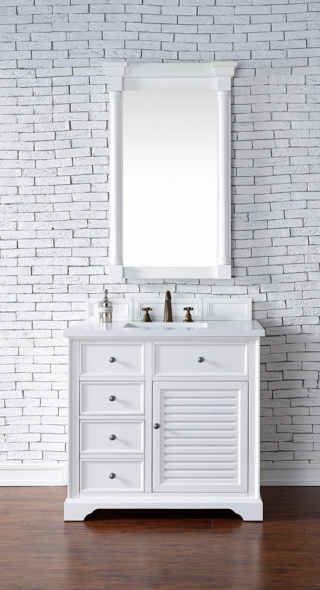 James Martin 238 104 V36 Cwh 3snw Savannah 36 Inch Cottage White Single Vanity With 3 Cm Snow White Quartz Top Small Bathroom Vanities Single Bathroom Vanity White Vanity Bathroom
