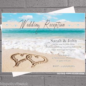 Beach Heart Wedding Abroad Reception Invitations X 50 With Env