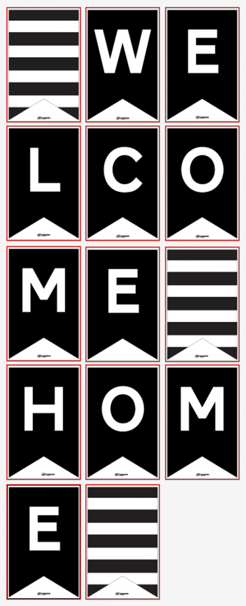 free printable oversized welcome home banner crafts pinterest free printable banners and free. Black Bedroom Furniture Sets. Home Design Ideas