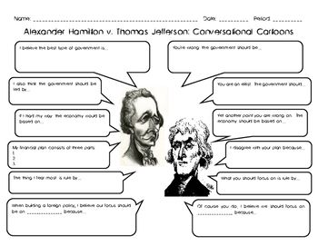 This Engaging Activity Includes Two Readings One About Alexander Hamilton And The Other Thomas Jefferson Students Will Used What They Learned